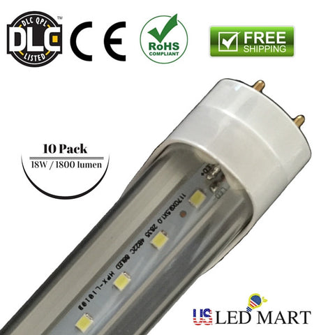 10 Pack - 4ft 18w T8 LED Tube Light G13 6500K Fluorescent Replace Bulb ( Bi Pin) - Clear Cover - DLC Approved