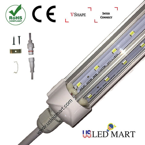 V Shape LED Cooler Door Tube Light with bracket - 5ft 32w - 45 Degree angle