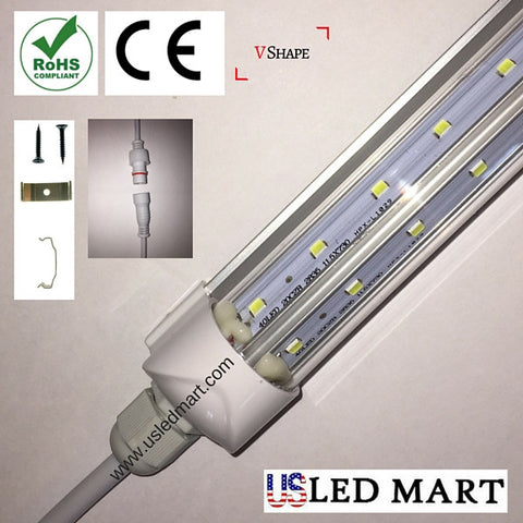 V Shape LED Cooler Door Integrated Tube Light with bracket- 6ft 39w - 6500K - Clear Cover