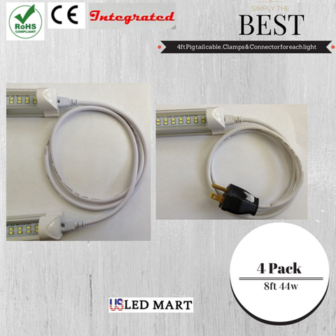 8ft 60w T8 LED Tube Light with Bracket(Integrated) - Natural White (Day Light) - Double Row - 480 led Chips 6500K