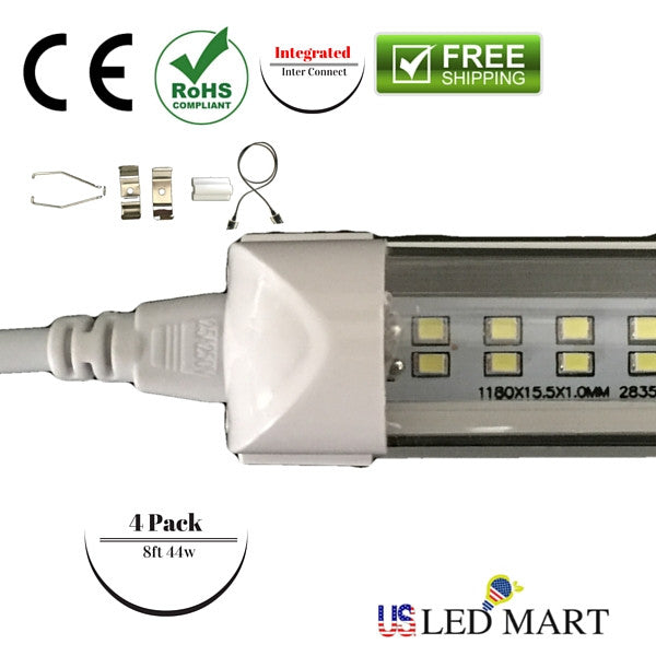 8 Ft 2 Lamp Fluorescent Strip Light White No Ssf2964wp 8ft: 8ft 44 T8 LED Tube Light With Bracket(Integrated