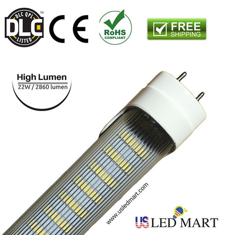 10 Pack - 4ft 22w T8 LED Tube Light with Base G13/Bi-Pin double Row LED 6500K / 5500K DLC Approved