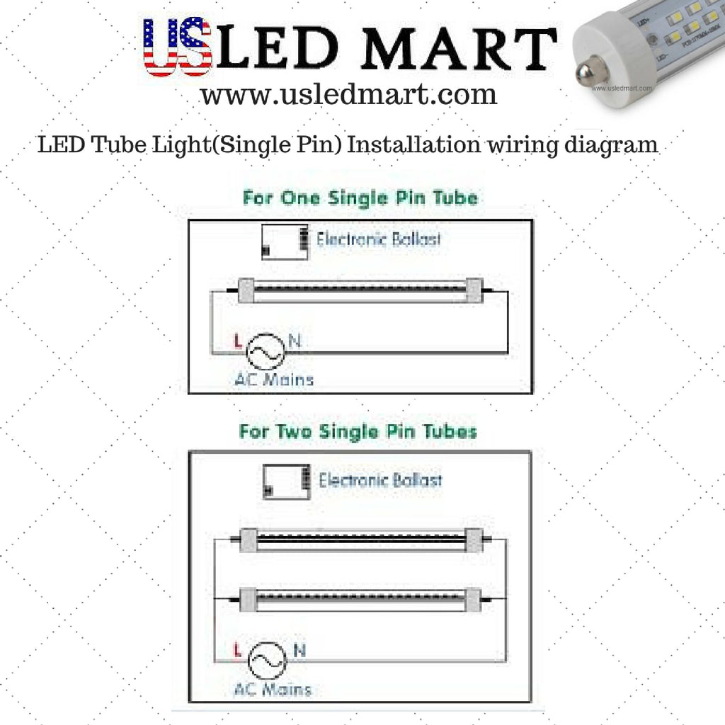 g13 single pin led tube light bar for display cooder door freezers Wiring Diagram for LED Fluorescent Light