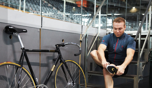 Chris Hoy and his bike preparing for sports