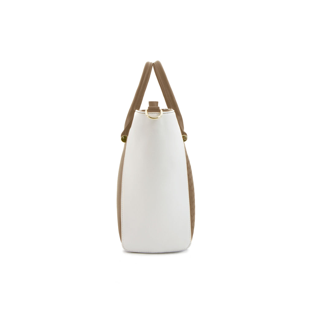 Spring Bliss Winged Laser Satchel - Beige/White