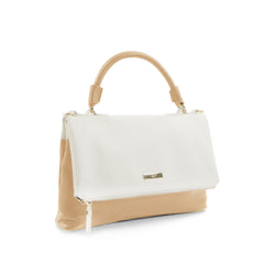 Spring Bliss Colour Block Flapover Crossbody w. Top Handle - White/Tan