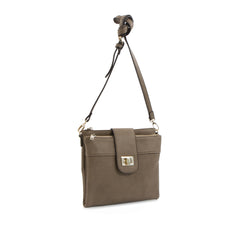 Spring Bliss Double Zip Crossbody - Taupe