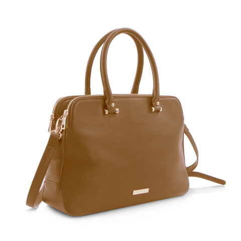 Spring Bliss Satchel with Double Zip Compartment - Camel