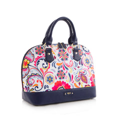 Bliss Printed Dome Satchel - White/Navy