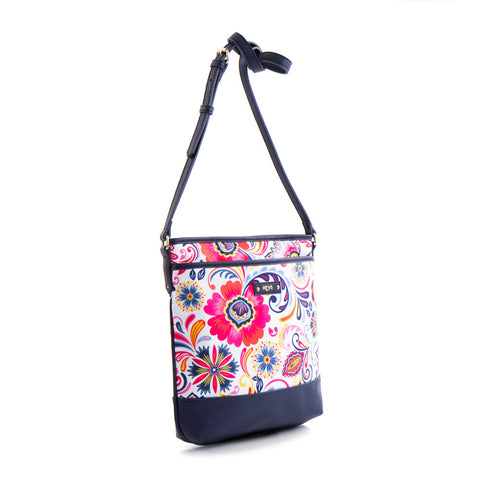 Bliss Printed Crossbody Bag - White/Navy