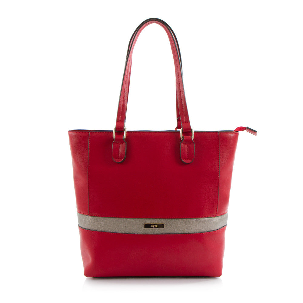 Bliss N/S Tote w/Metallic Trim - Red
