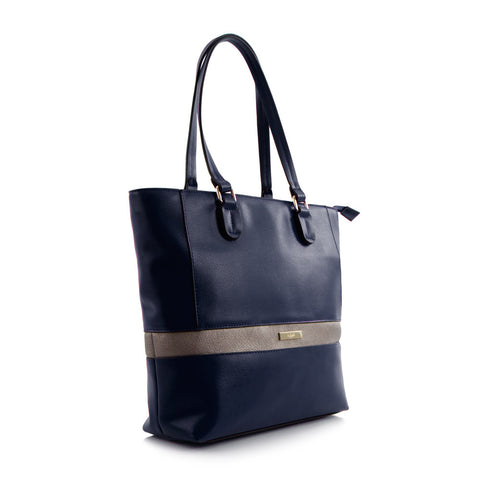 Bliss N/S Tote w/Metallic Trim - Navy