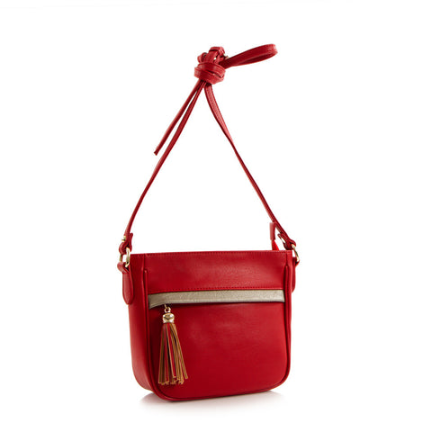Bliss Mini Crossbody Bag w/Metallic Trim - Red