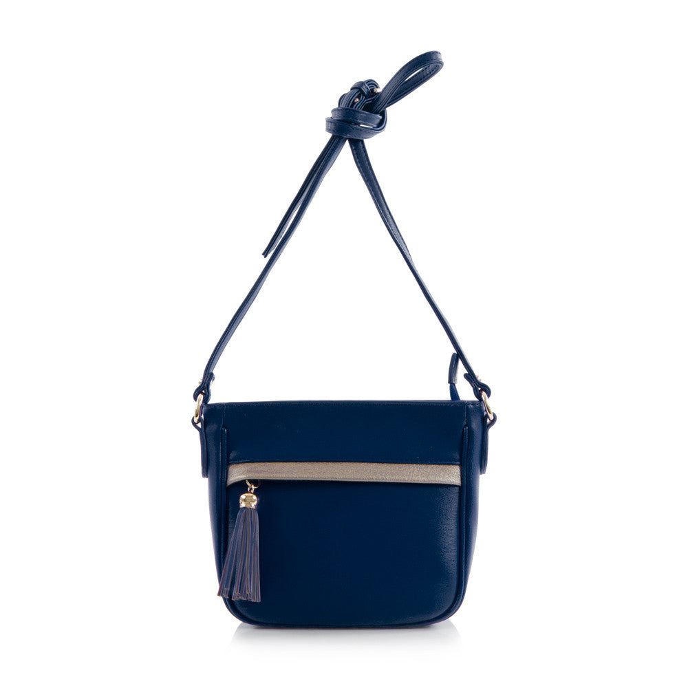 Bliss Mini Crossbody Bag w/Metallic Trim - Navy
