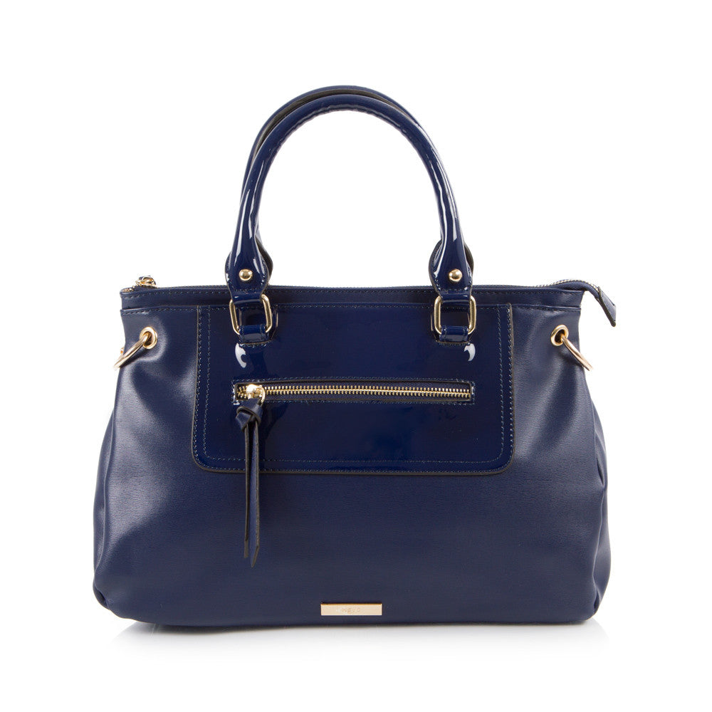 Bliss Satchel with Front Zip - Navy