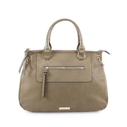Bliss Satchel with Front Zip - Taupe