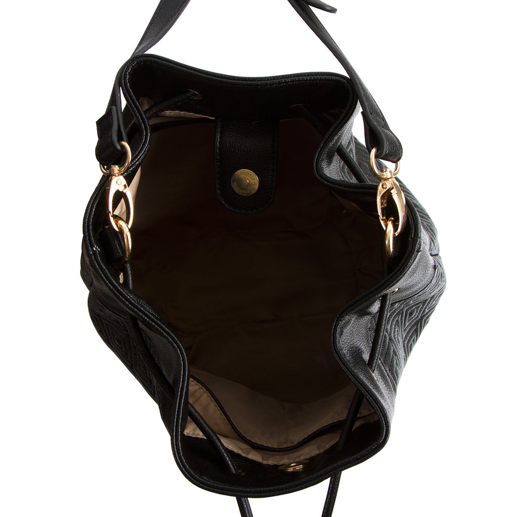 La Mode Square Quilted Drawstring - Black