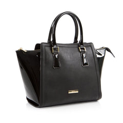 La Mode Winged Satchel - Black/Black Patent