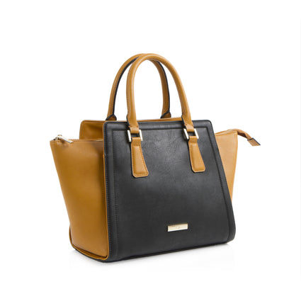 La Mode Winged Satchel - Cognac/Black
