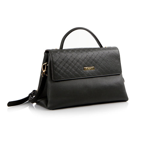 La Mode Diamond Embossed Flap Satchel - Black