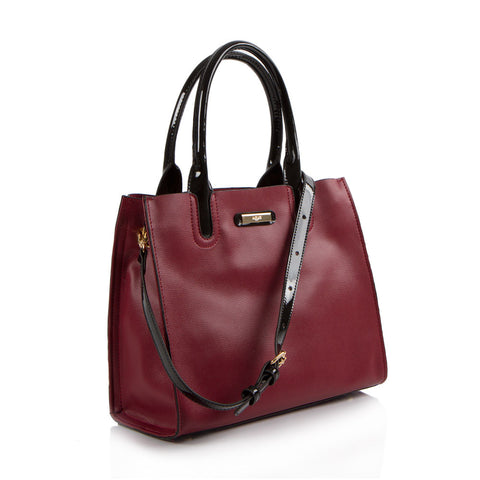 La Mode Colour Blocked Satchel - Burgundy/Black