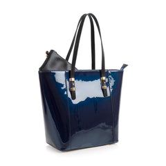 La Mode Patent North South Tote - Navy