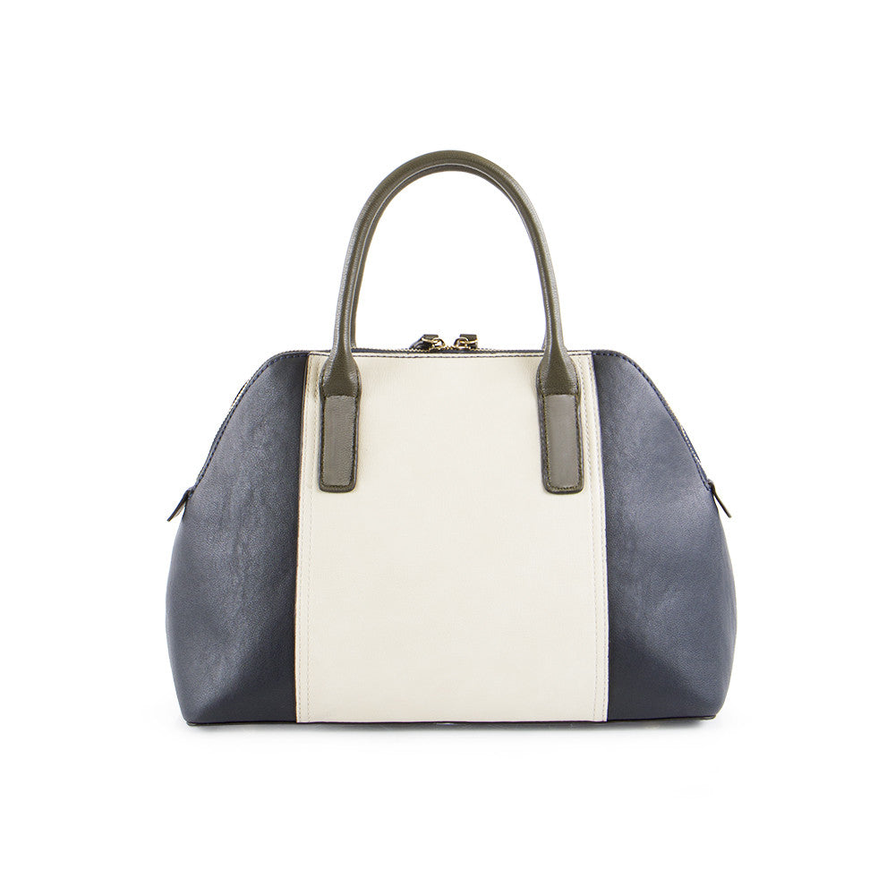 True Blue Colour Block Satchel - Navy/Olive