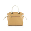 True Blue Colour Block Satchel with Side Tassel Details - Camel/Bone