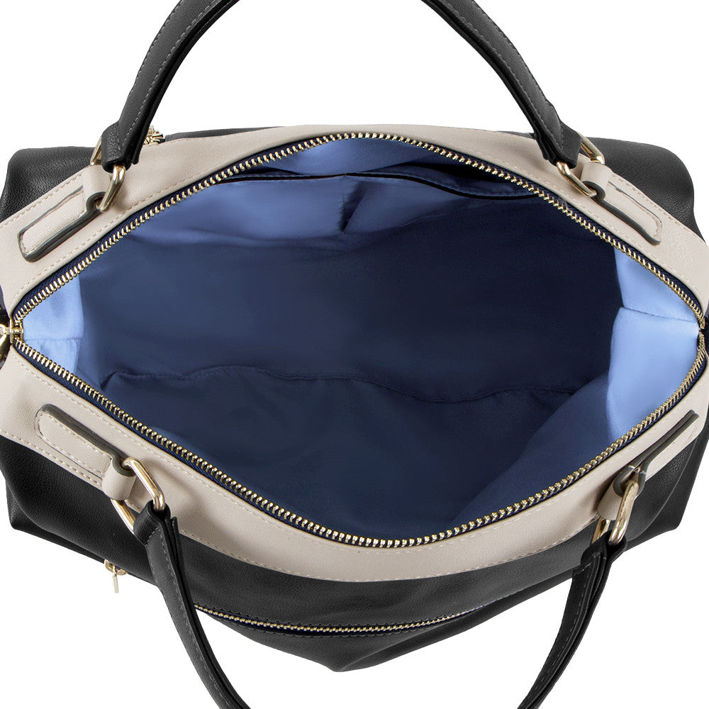 True Blue Colour Block Barrel Satchel - Black/Bone