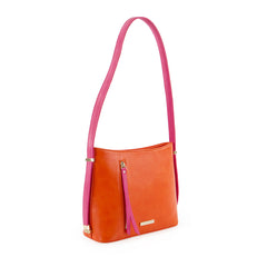 True Blue Colour Block Shoulder Bag - Orange/Fuchsia