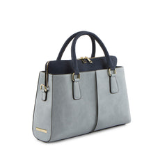 True Blue Colour Block Satchel with Three Zip Compartments - Blue/Navy