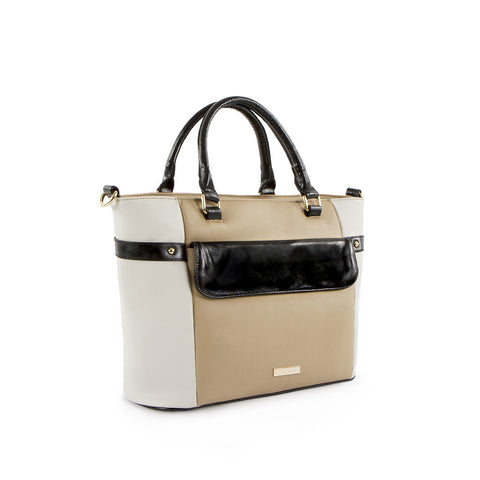 True Blue Work Tote - Colour Block - Black/Taupe/Bone