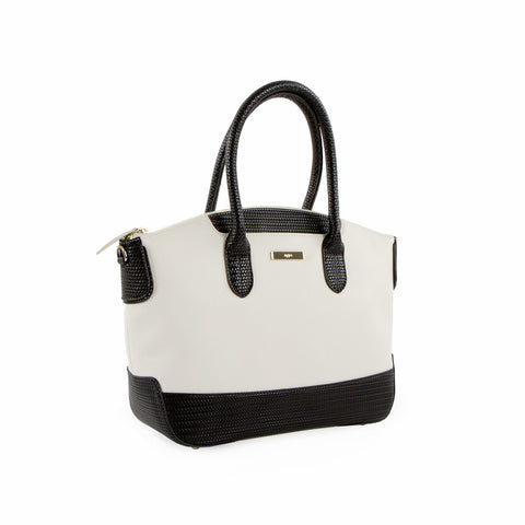 True Blue Soft Woven Satchel - Black/White