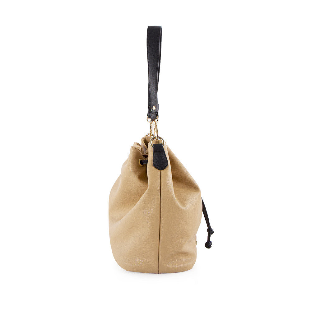 True Blue Drawstring Shoulder Bag - Sand