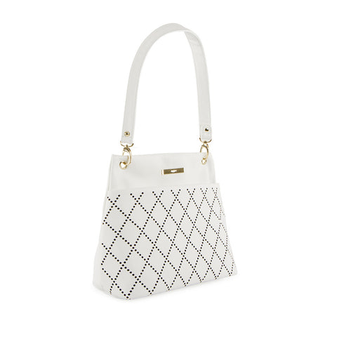 True Blue Diamond Laser Shoulder Bag - White