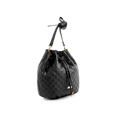 La Mode Quilted Drawstring - Black