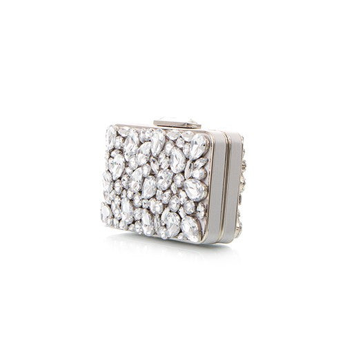 Bright Lights Big City Mixed Crystal Clutch - Silver