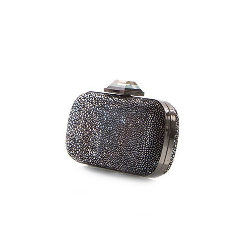 Bright Lights Big City Pebble Clutch - Black Pebble Dot