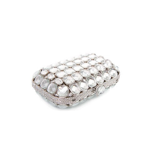 Bright Lights Big City Welded Crystal Clutch - Silver