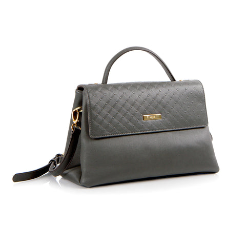 La Mode Diamond Embossed Flap Satchel - Grey