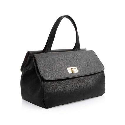 La Mode Dual-Flap Satchel - Black/Grey