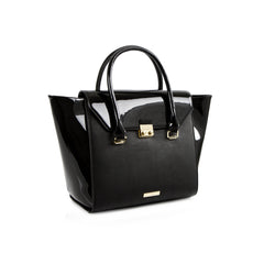 La Mode Winged Tote - Black/Patent