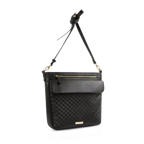 La Mode Diamond Embossed Crossbody - Black