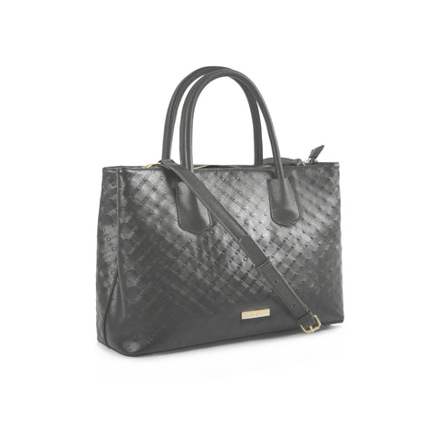 La Mode Diamond Embossed Satchel - Grey