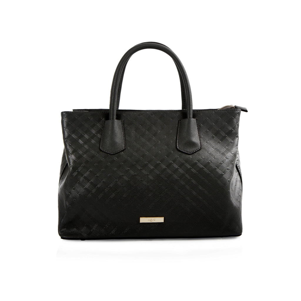 La Mode Diamond Embossed Satchel - Black