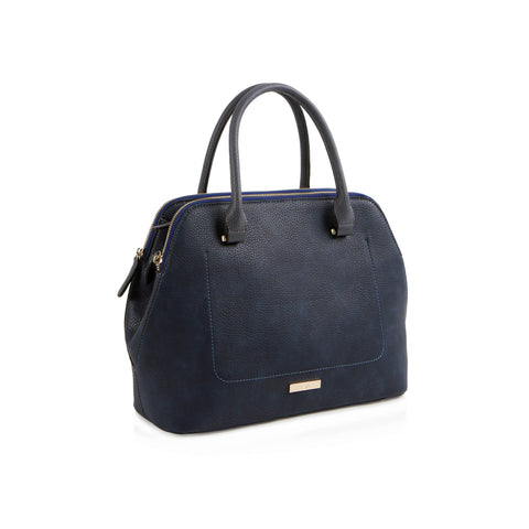 La Mode Multi-Zip Satchel - Navy/Grey
