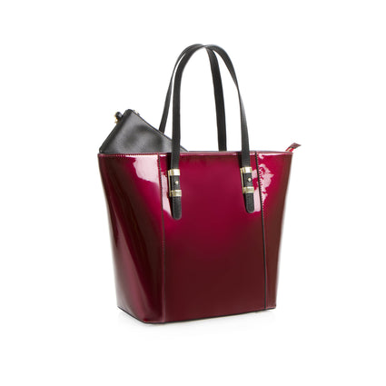 La Mode Patent North South Tote - Burgundy/Black