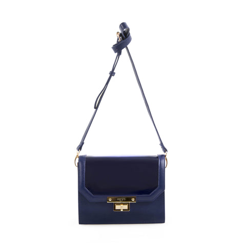 La Mode Patent flap Crossbody - Navy