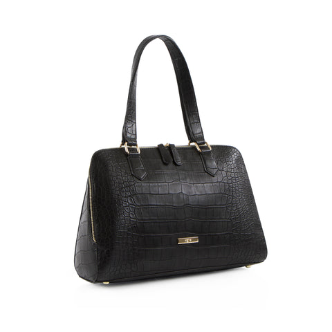 La Mode Croc Satchel - Black