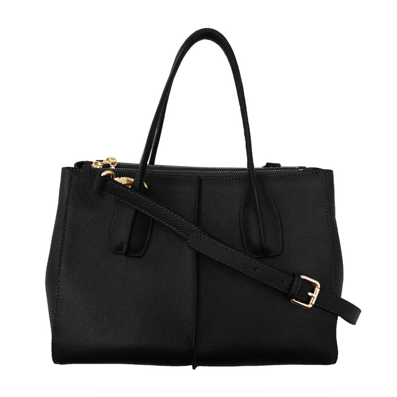 Parisian Double Zip Leather Satchel - Black